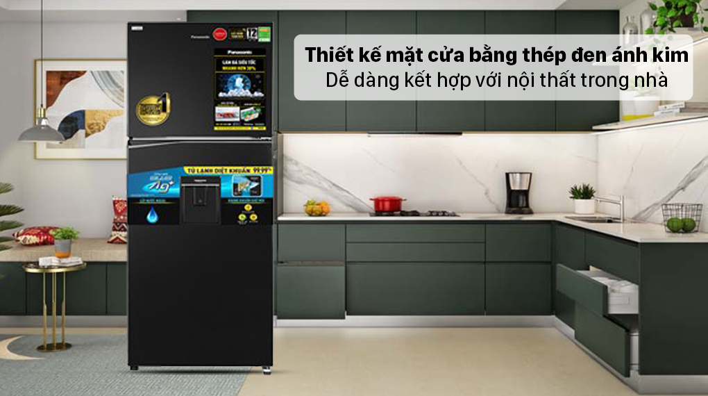 Tủ lạnh Panasonic Inverter 326 lít NR-TL351GPKV - Mặt cửa bằng thép đen ánh kim