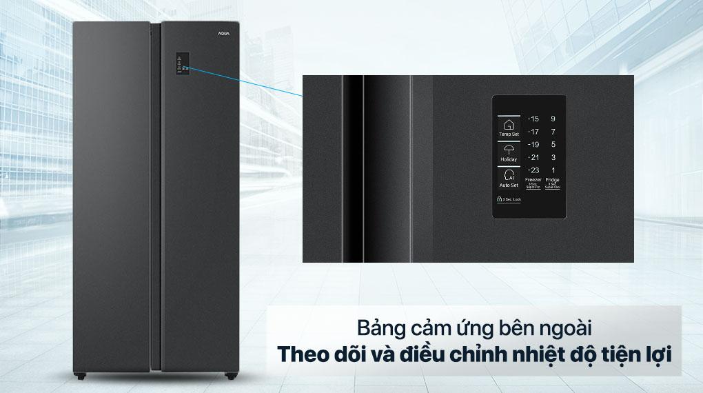 Tủ lạnh Aqua Inverter 480 lít AQR-S480XA(BL) - Bảng điều khiển cảm ứng bên ngoài