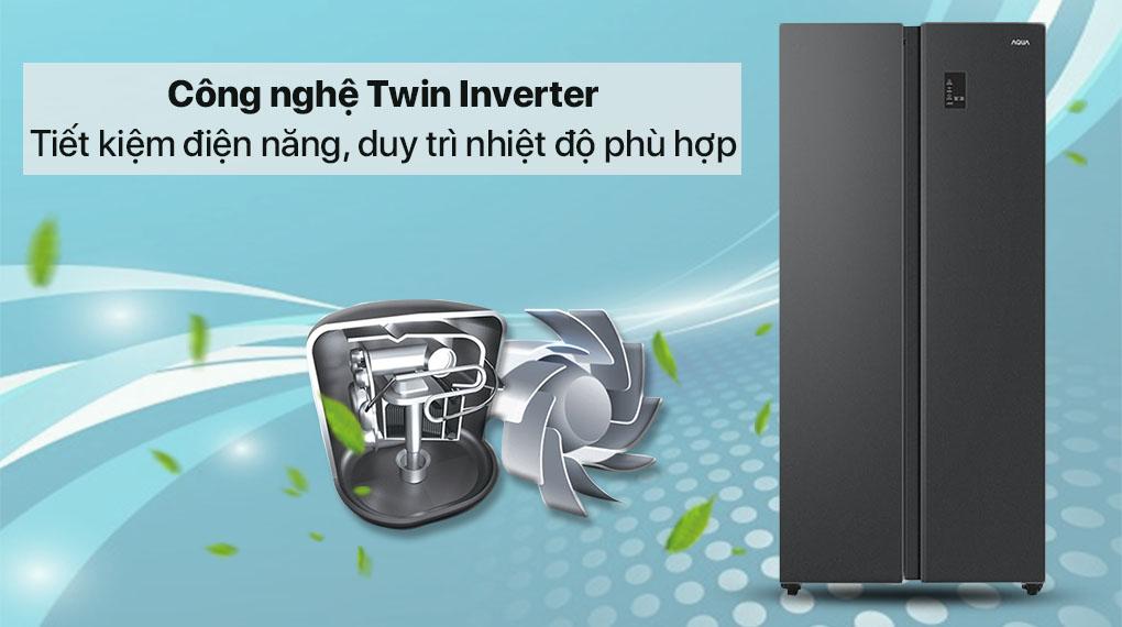 Tủ lạnh Aqua Inverter 480 lít AQR-S480XA(BL) - Công nghệ Twin Inverter