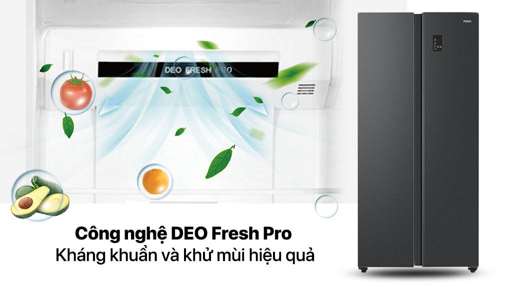Tủ lạnh Aqua Inverter 480 lít AQR-S480XA(BL) - Kháng khuẩn DEO Fresh Pro