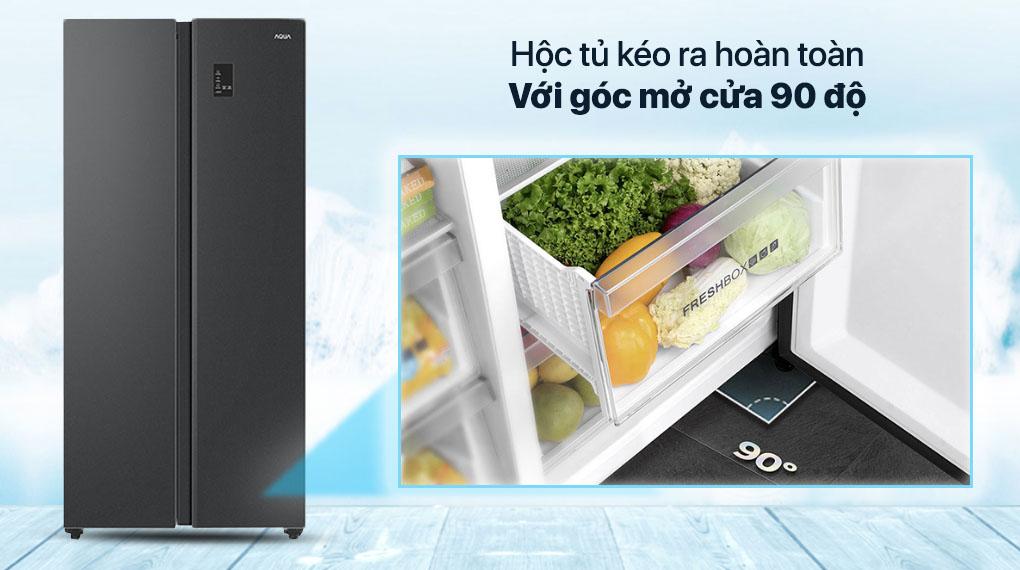 Tủ lạnh Aqua Inverter 480 lít AQR-S480XA(BL) - Hộc tủ kéo ra hoàn toàn