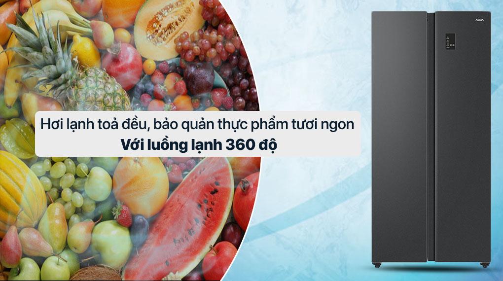 Tủ lạnh Aqua Inverter 480 lít AQR-S480XA(BL) - Luồng lạnh 360 độ