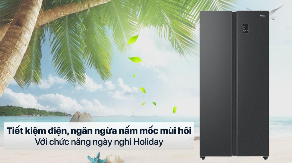 Tủ lạnh Aqua Inverter 480 lít AQR-S480XA(BL) - Chế độ ngày nghỉ Holiday