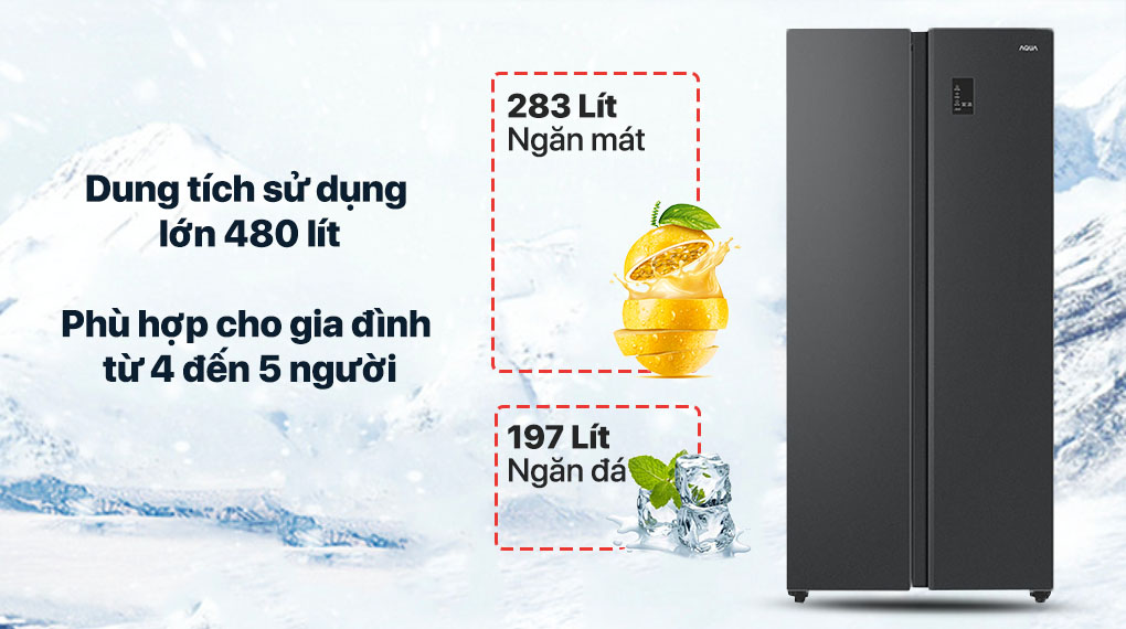 Tủ lạnh Aqua Inverter 480 lít AQR-S480XA(BL) - Dung tích 480 lít