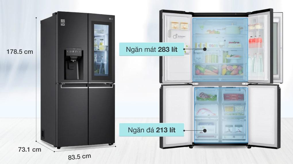 Tủ lạnh LG Inverter 496 lít GR-X22MB - Dung tích 496 lít
