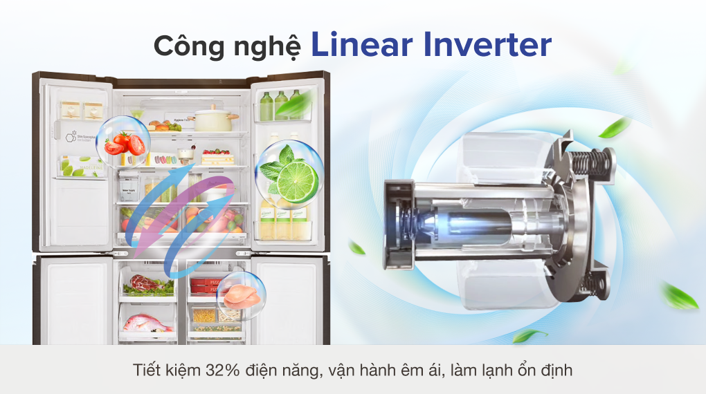 Tủ lạnh LG Inverter 494 lít GR-D22MB - Công nghệ Linear Inverter