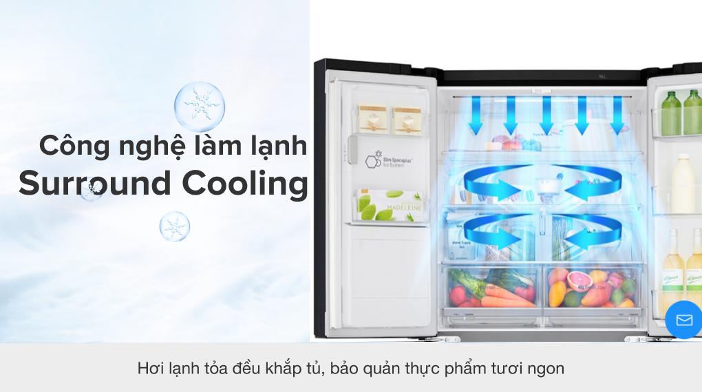 Tủ lạnh LG Inverter 494 lít GR-D22MB - CN làm lạnh