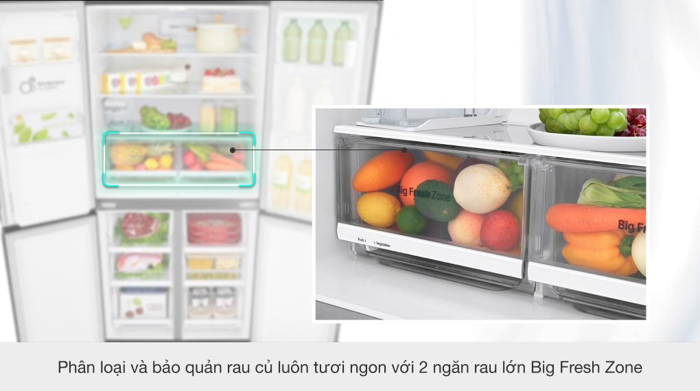 Tủ lạnh LG Inverter 494 lít GR-D22MB - Ngăn rau củ