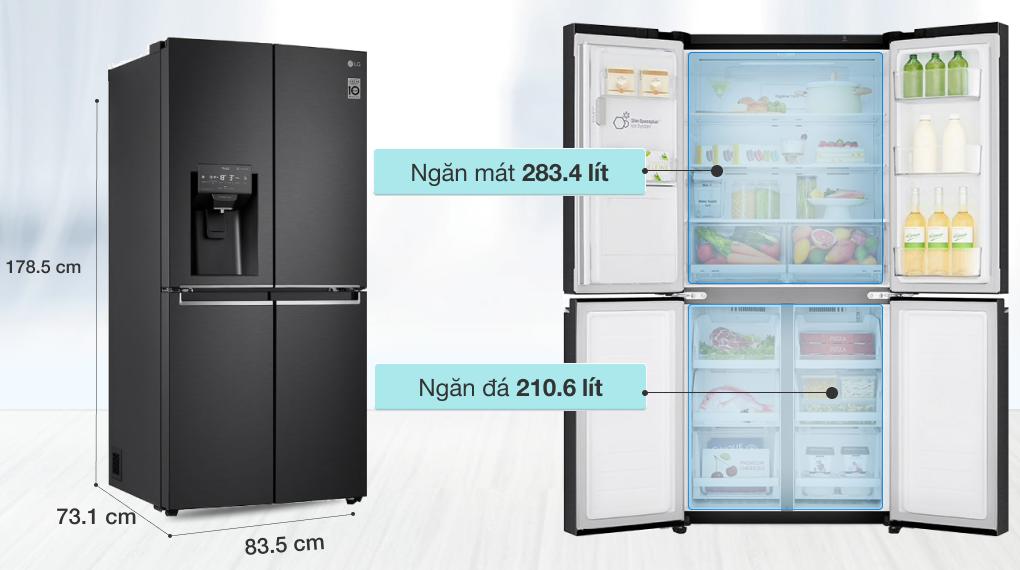 Tủ lạnh LG Inverter 494 lít GR-D22MB - Dung tích