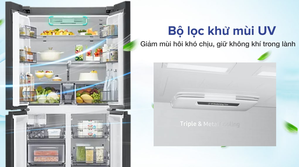 Tủ lạnh Samsung Inverter 599 lít RF60A91R177/SV - Khử mùi diệt khuẩn, đảm bảo vệ sinh với bộ lọc khử mùi UV