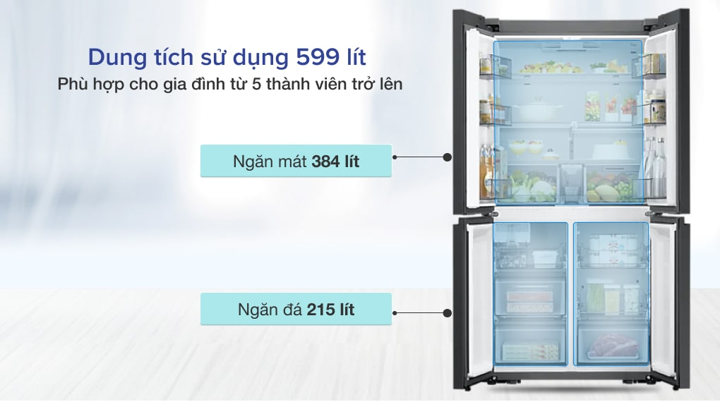Tủ lạnh Samsung Inverter 599 lít RF60A91R177/SV - Dung tích 599 lít, phù hợp cho gia đình đông người