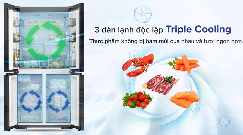 Tủ lạnh Samsung Inverter 599 lít RF60A91R177/SV - Thực phẩm tươi ngon hơn, với hệ thống ba dàn lạnh độc lập Triple Cooling