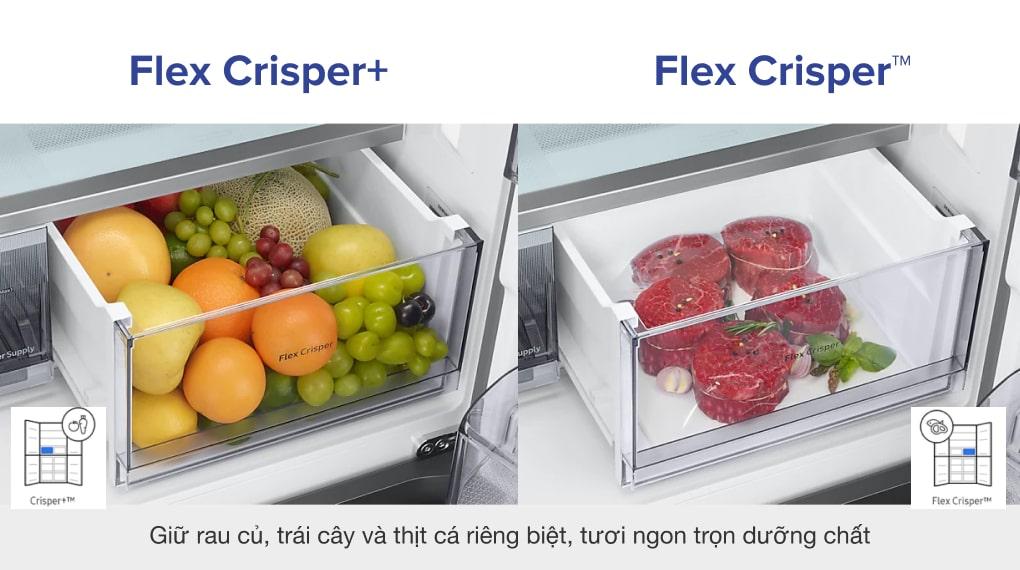 Tủ lạnh Samsung Inverter 599 lít RF60A91R177/SV - Giữ rau củ, trái cây và thịt cá riêng biệt, tươi ngon trọn dưỡng chất nhờ Hộp rau củ trái cây kín khí Crisper+ và Hộp thịt cá Flex Crisper™