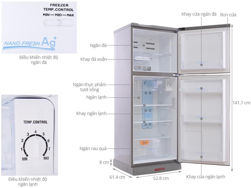 Thông số kỹ thuật Tủ lạnh Sanyo 186 lít SR-U205PN