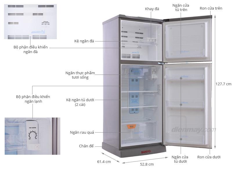 Thông số kỹ thuật Tủ lạnh Sanyo SR-U185PN 165 lít