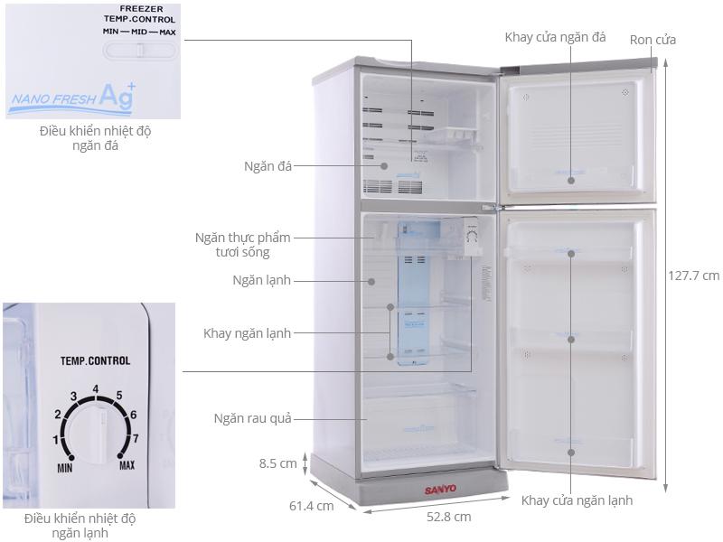 Thông số kỹ thuật Tủ lạnh Sanyo 165 lít SR-S185PN