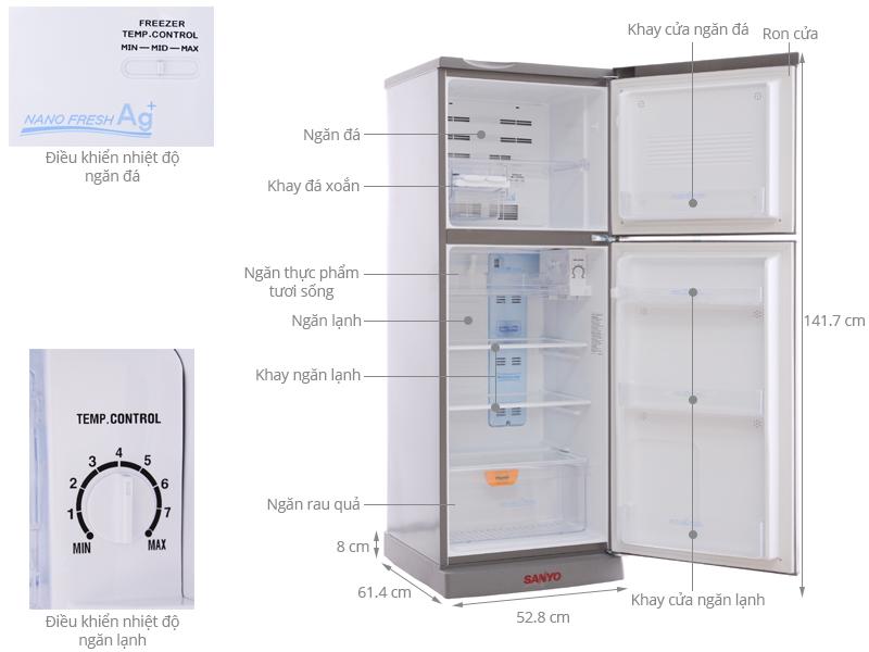 Thông số kỹ thuật Tủ lạnh Sanyo 186 lít SR-P205PN