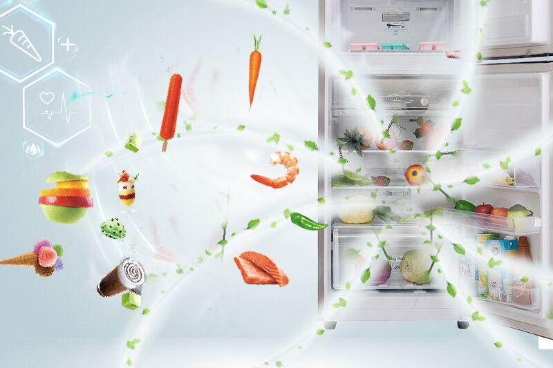 Bộ lọc không khí được tích hợp trên cánh quạt tủ lạnh Samsung RT20FARWDSA giúp nó có thể thanh trùng sạch sẽ không khí