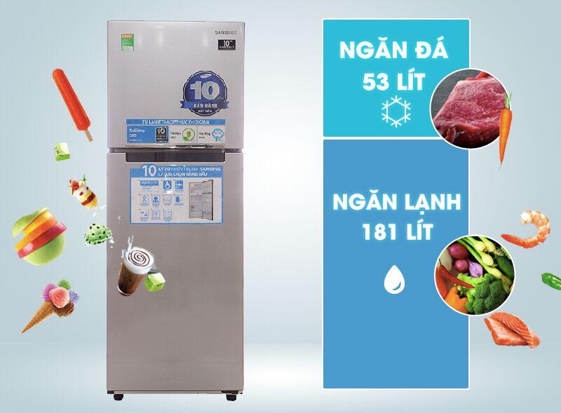Tủ lạnh Samsung RT22FARBDSA có gam màu bạc hiện đại