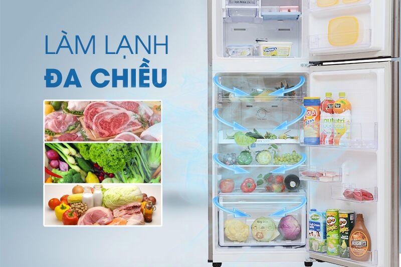 Công nghệ làm lạnh vòm đem đến luồng khí lạnh có khả năng chạy đến mọi ngóc ngách, từ đó làm lạnh thực phẩm trong tủ lạnh Samsung RT22FARBDSA được đồng đều