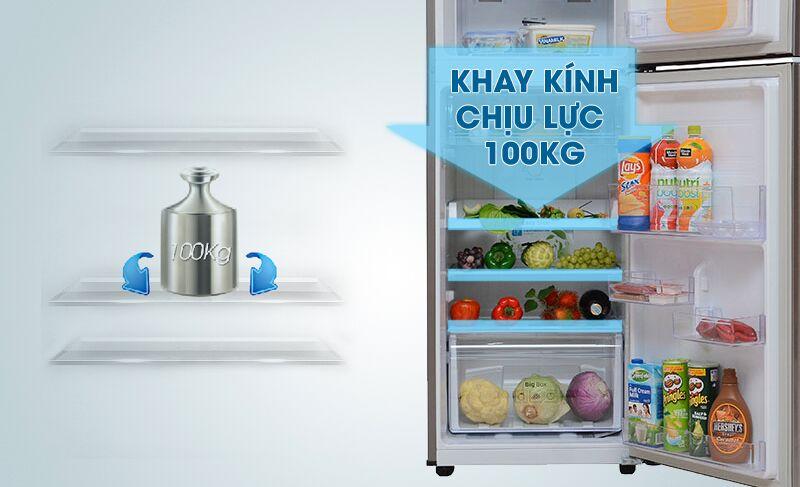 Khay kính của tủ lạnh Samsung RT22FARBDSA có thể chịu được lực lớn