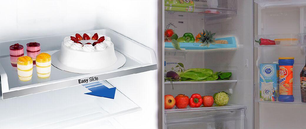 Ngăn kéo Easy Slide được đặt trên thanh trượt của tủ lạnh Samsung RT22FARBDSA giúp cho nó có khả năng kéo ra và kéo vào dễ dàng
