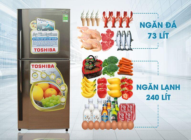 Tủ lạnh Toshiba GR-S19VUP có thiết kế màu xám bạc sang trọng và tinh tế