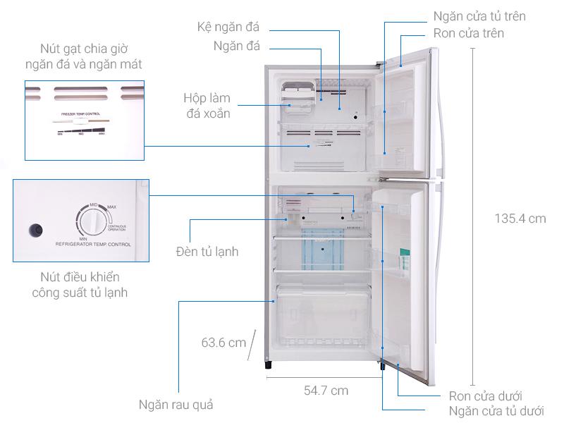 Thông số kỹ thuật Tủ lạnh Toshiba 186 lít GR-S21VPB