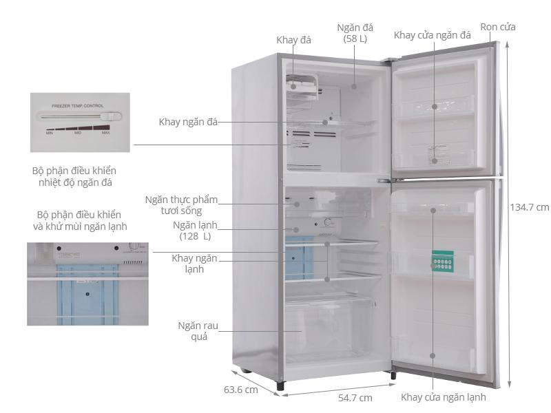Thông số kỹ thuật Tủ lạnh Toshiba 186 lít GR-S21VUB