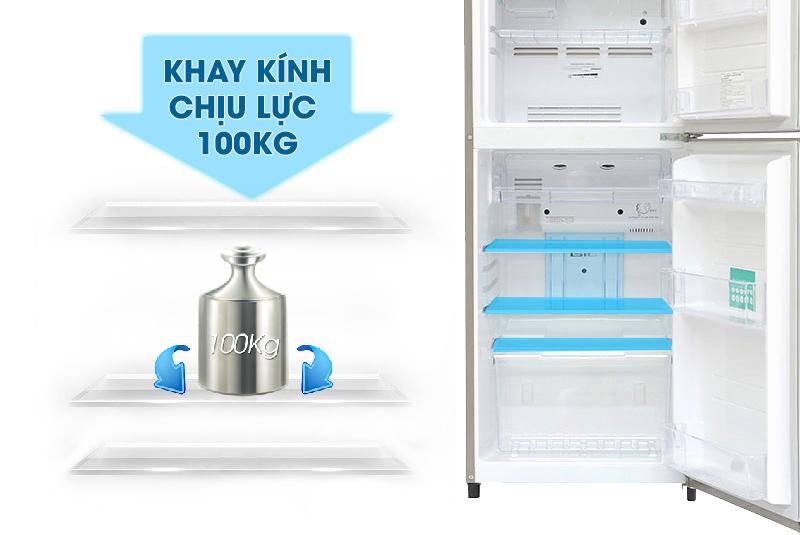 Với khay kính chịu lực lớn, bạn sẽ dễ dàng hơn trong việc bảo quản các thực phẩm có khối lượng nặng trong tủ lạnh Toshiba GR-S21VUB