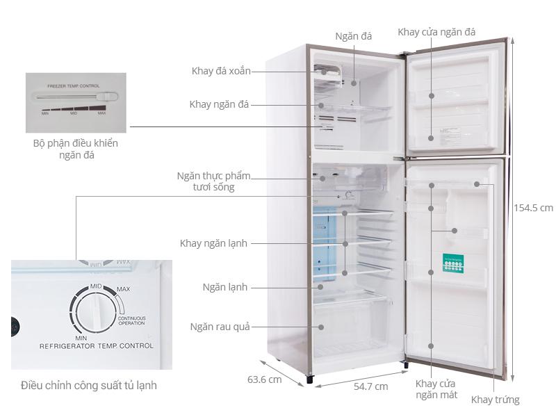 Thông số kỹ thuật Tủ lạnh Toshiba 226 lít GR-S25VPB