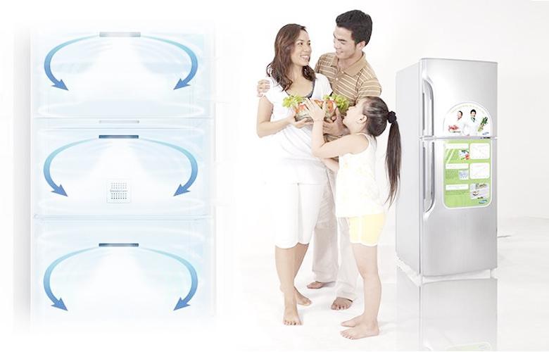 Luồng khí lạnh vòng cung làm lạnh thực phẩm nhanh chóng, đều khắp mọi nơi trong tủ (hình ảnh chỉ để minh hoạ luồng khí lạnh vòng cung, tủ lạnh trong ảnh không phải là model đang được giới thiệu)