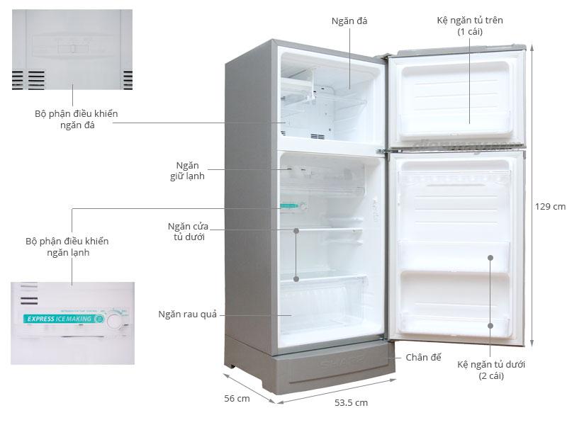 Thông số kỹ thuật Tủ lạnh Sharp SJ-166S 165 lít