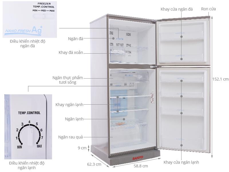Thông số kỹ thuật Tủ lạnh Sanyo 245 lít SR-U25MN