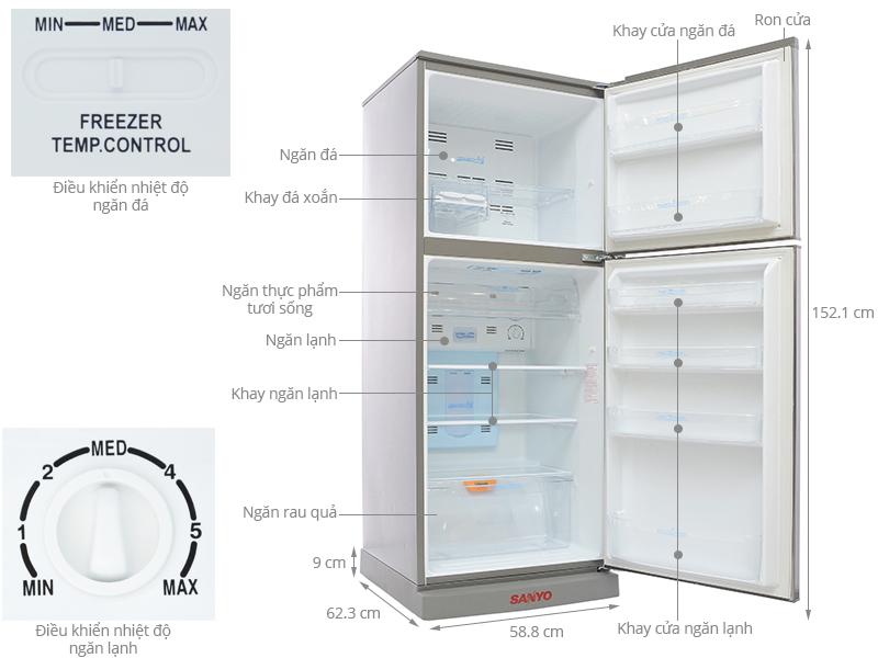 Thông số kỹ thuật Tủ lạnh Sanyo 245 lít SR-P25MN