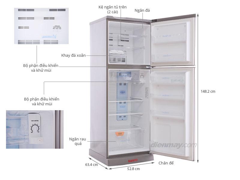 Thông số kỹ thuật Tủ lạnh Sanyo SR-P21MN 207 lít