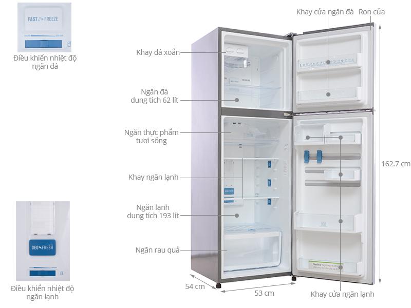Thông số kỹ thuật Tủ lạnh Electrolux 255 lít ETB2600PE-RVN