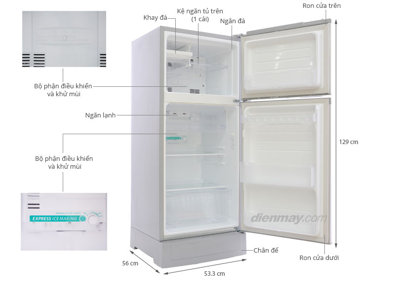 Thông số kỹ thuật Tủ lạnh Sharp SJ-16V 165 lít