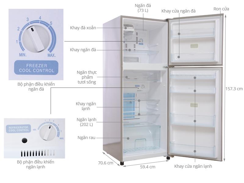 Thông số kỹ thuật Tủ lạnh Toshiba 275 lít GR-R32FVUD