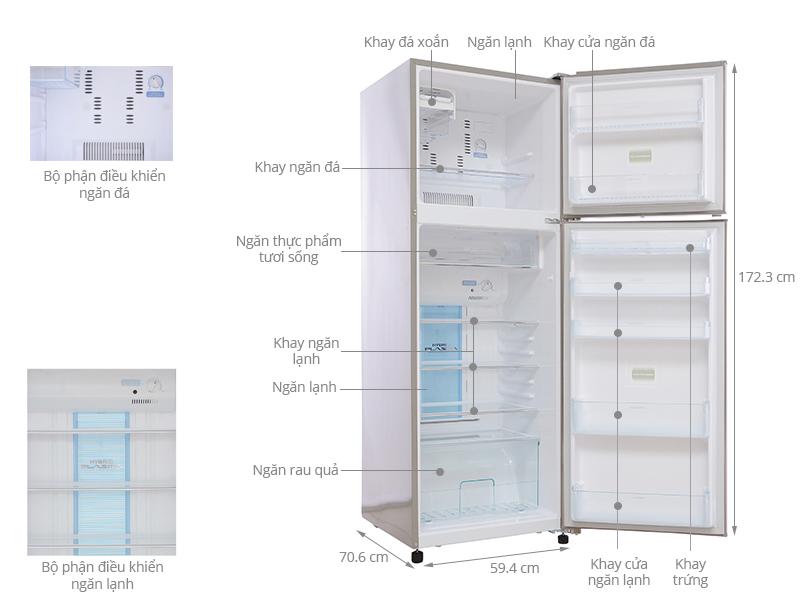Thông số kỹ thuật Tủ lạnh Toshiba 313 lít GR-R37FVUD