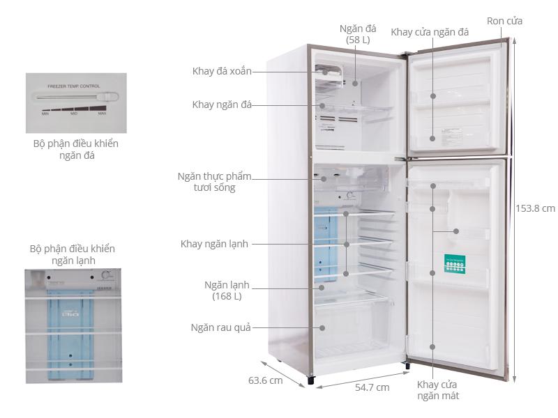 Thông số kỹ thuật Tủ lạnh Toshiba GR-S25VUB 226 lít