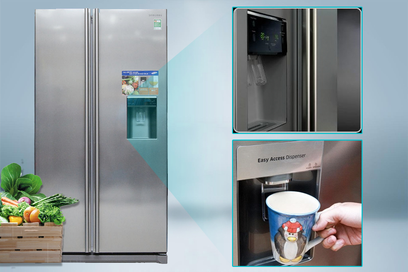 Đồng thời, bạn cũng có thể lấy nước từ bên ngoài của chiếc tủ lạnh Samsung RSA1WTSL1/XSV này