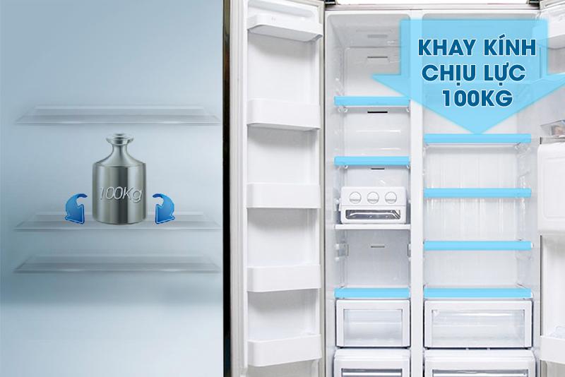 Tủ lạnh Samsung RSA1WTSL1/XSV có khay thủy tinh chịu lực tốt