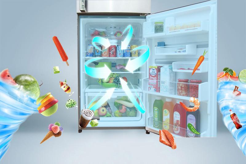 Công nghệ làm lạnh đa chiều mới lạ của tủ lạnh Electrolux EME3500SA đảm bảo luồng khí thổi sẽ đưa đi khắp tủ lạnh