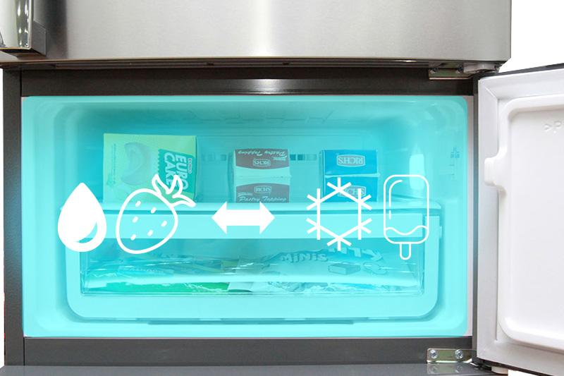 Một điểm đặc biệt của tủ lạnh Electrolux EME3500SA này là sự xuất hiện của ngăn thứ 3 – ngăn đa năng có thể chuyển đổi