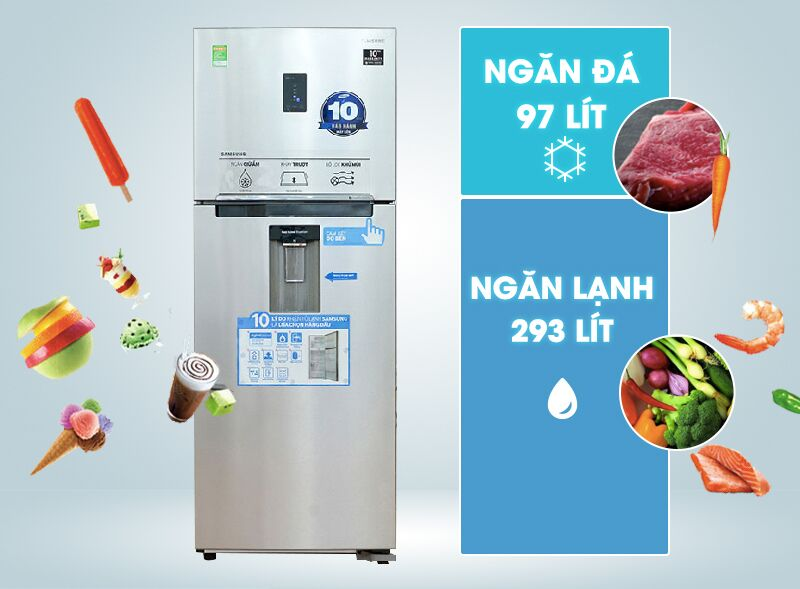 Với dung tích đến 390 lít, tủ lạnh Samsung RT38FEAKDSL có gam màu xám đẳng cấp