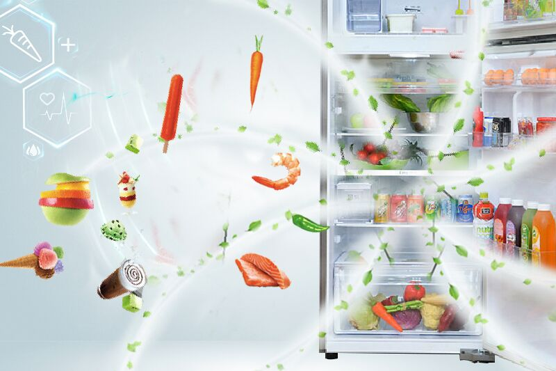 Trên cánh quạt của tủ lạnh Samsung RT38FEAKDSL có tích hợp bộ lọc kháng khuẩn và khử mùi