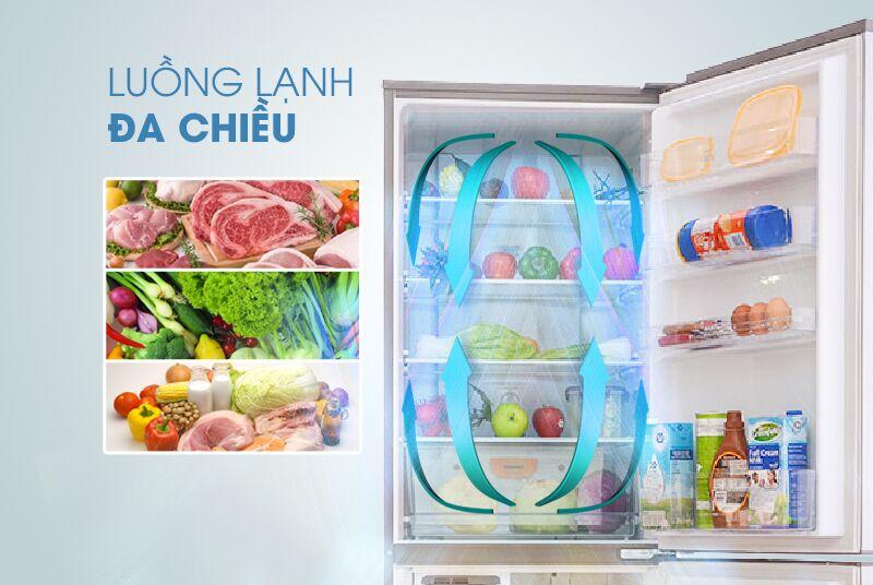 Công nghệ luồng khí lạnh đa chiều độc đáo của tủ lạnh Sanyo SR-Q345RB hỗ trợ cho nó trong việc phân tán khí mát đều