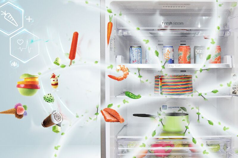 Bộ lọc kháng khuẩn và khử mùi được tích hợp trên cánh quạt của tủ lạnh Samsung RT43H5231SL/SV hỗ trợ nó trong việc lọc khí