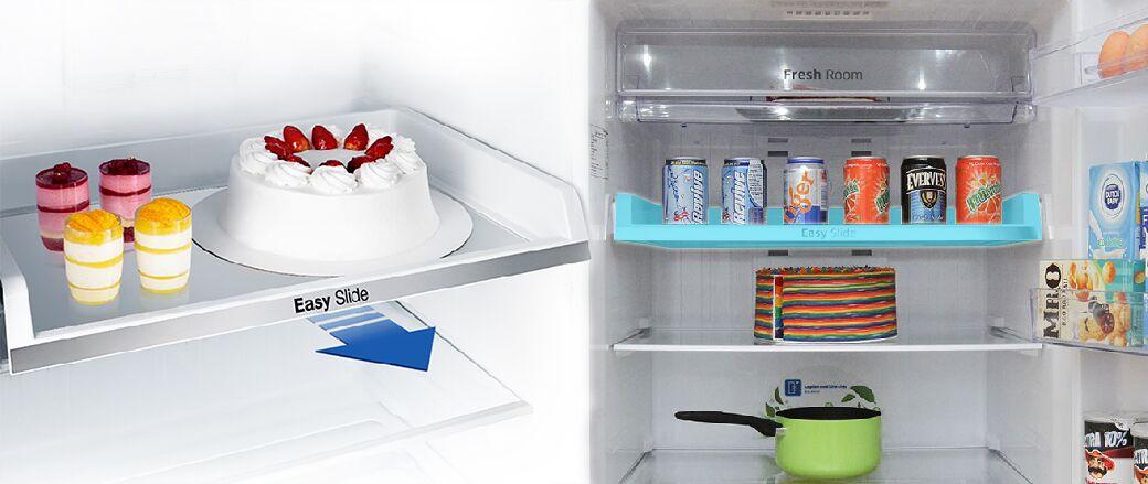 Ngăn kéo Easy Slide của tủ lạnh Samsung RT43H5231SL/SV đem đến sự dễ dàng trong việc sắp xếp các thực phẩm